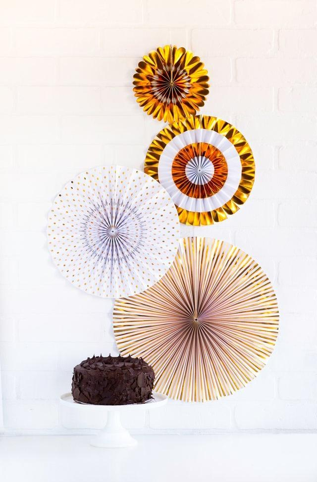 Golden Chic Party Fans, Partyware, My Mind's Eye - 3LittlePicks