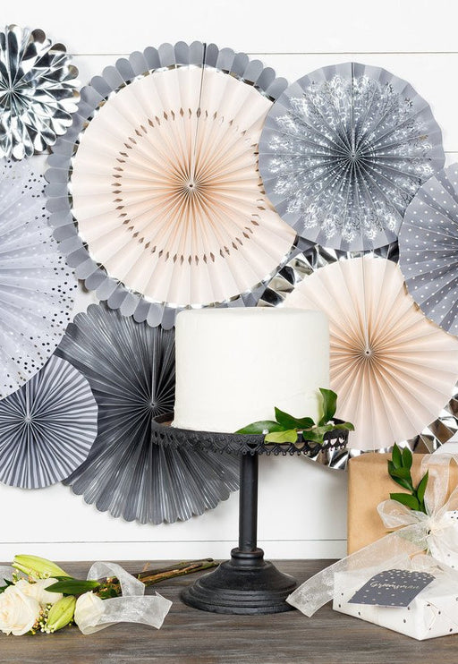 Grey Glam Party Fans, Partyware, My Mind's Eye - 3LittlePicks