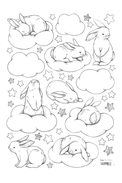 Bunnies Clouds And Stars Vinyl Decal, Decor, Lilipinso - 3LittlePicks