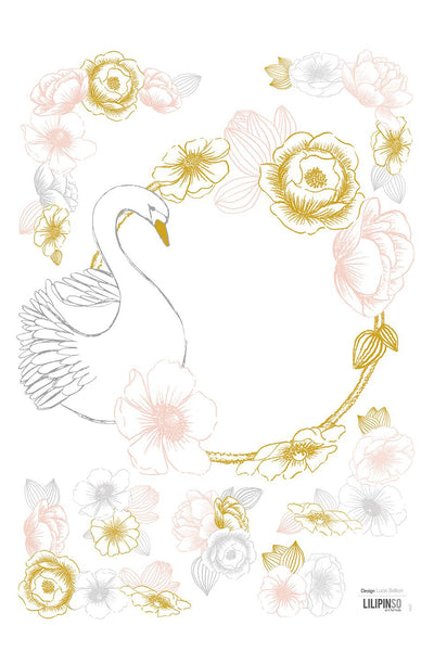 Swan and Yellow Pink Flowers Vinyl Decal