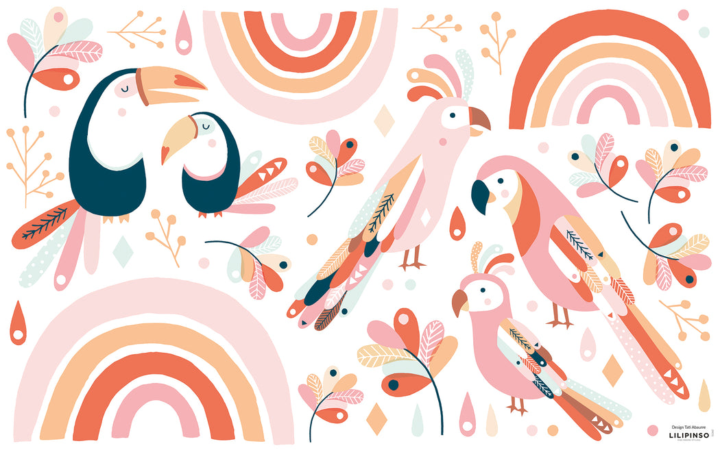 Tropical Birds and Rainbows Pink Orange Vinyl Decal, Decor, Lilipinso - 3LittlePicks