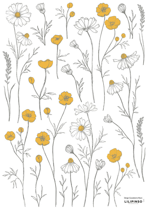 Buttercups and Chamomile Flowers Vinyl Decal, Decor, Lilipinso - 3LittlePicks