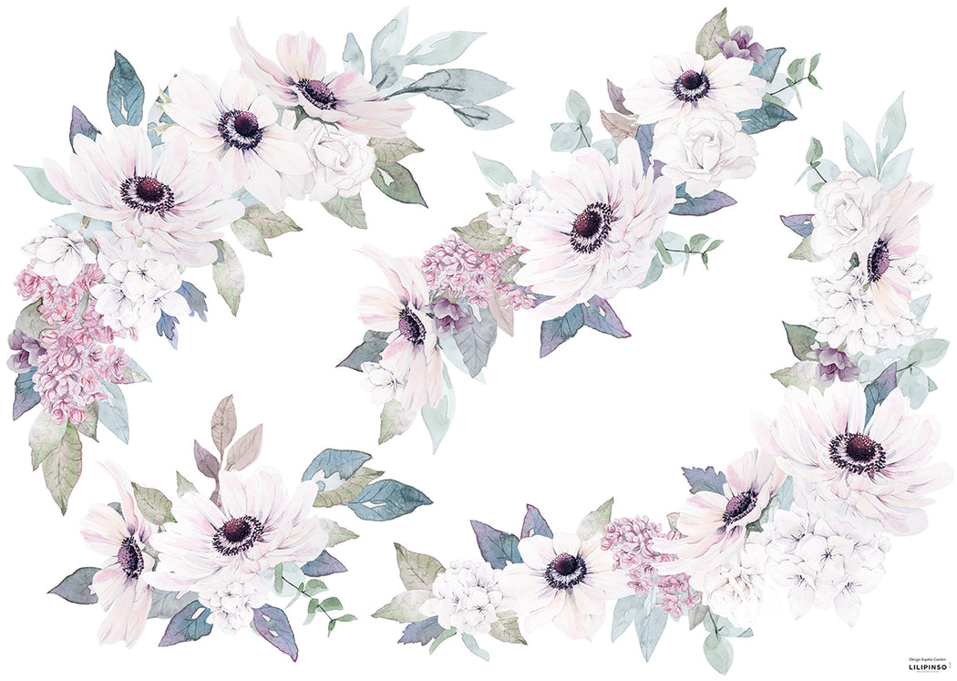 Blush Purple Flowers Ornament Vinyl Decal, Decor, Lilipinso - 3LittlePicks
