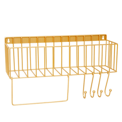 Golden Metal Shelf with Hooks