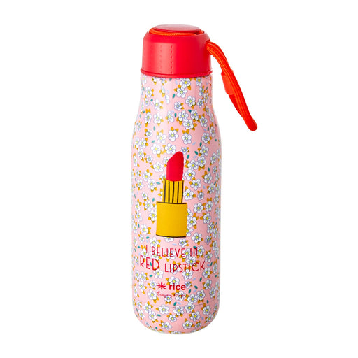 Small Flowers and Lipstick Print Stainless Steel Water Bottle, Drinkware, RICE - 3LittlePicks