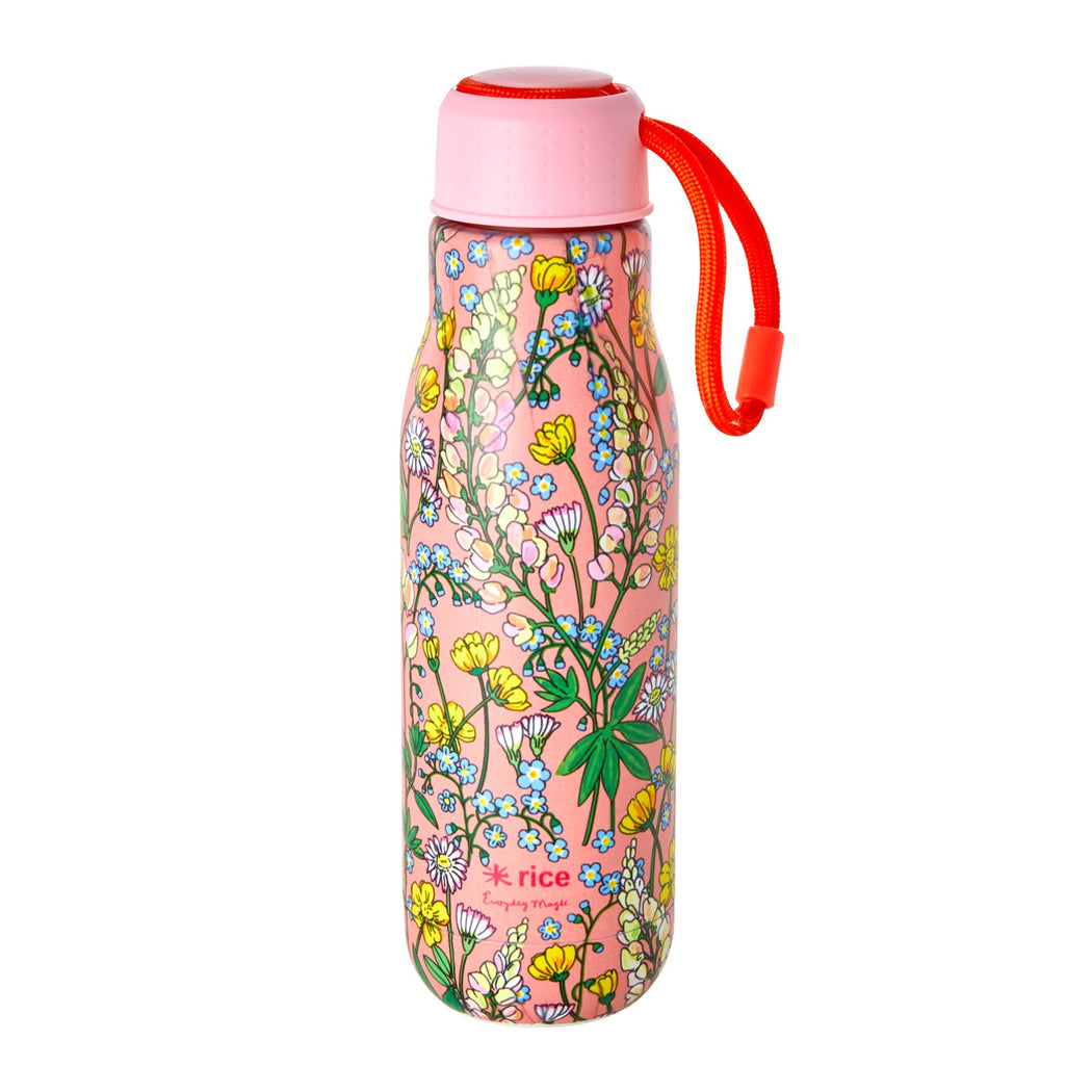 Coral Lupin Print Stainless Steel Water Bottle, Drinkware, RICE - 3LittlePicks