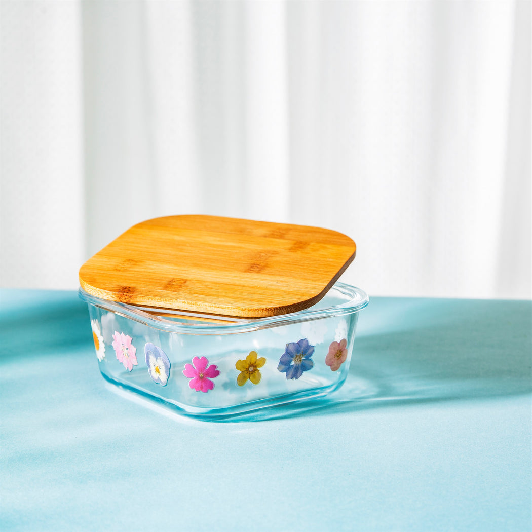 Pressed Flowers Effect Glass Storage Box Small