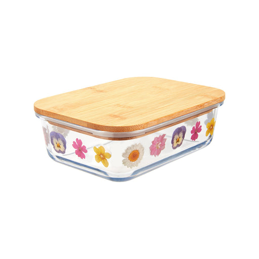 Pressed Flowers Effect Glass Storage Box Large