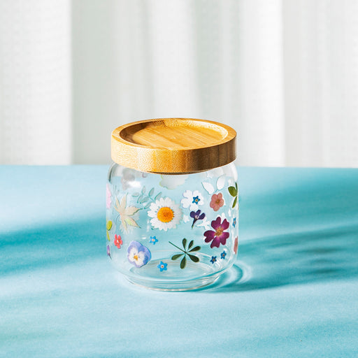 Pressed Flowers Effect Glass Storage Jar Small