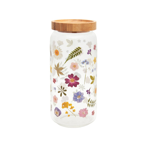 Pressed Flowers Effect Glass Storage Jar Large