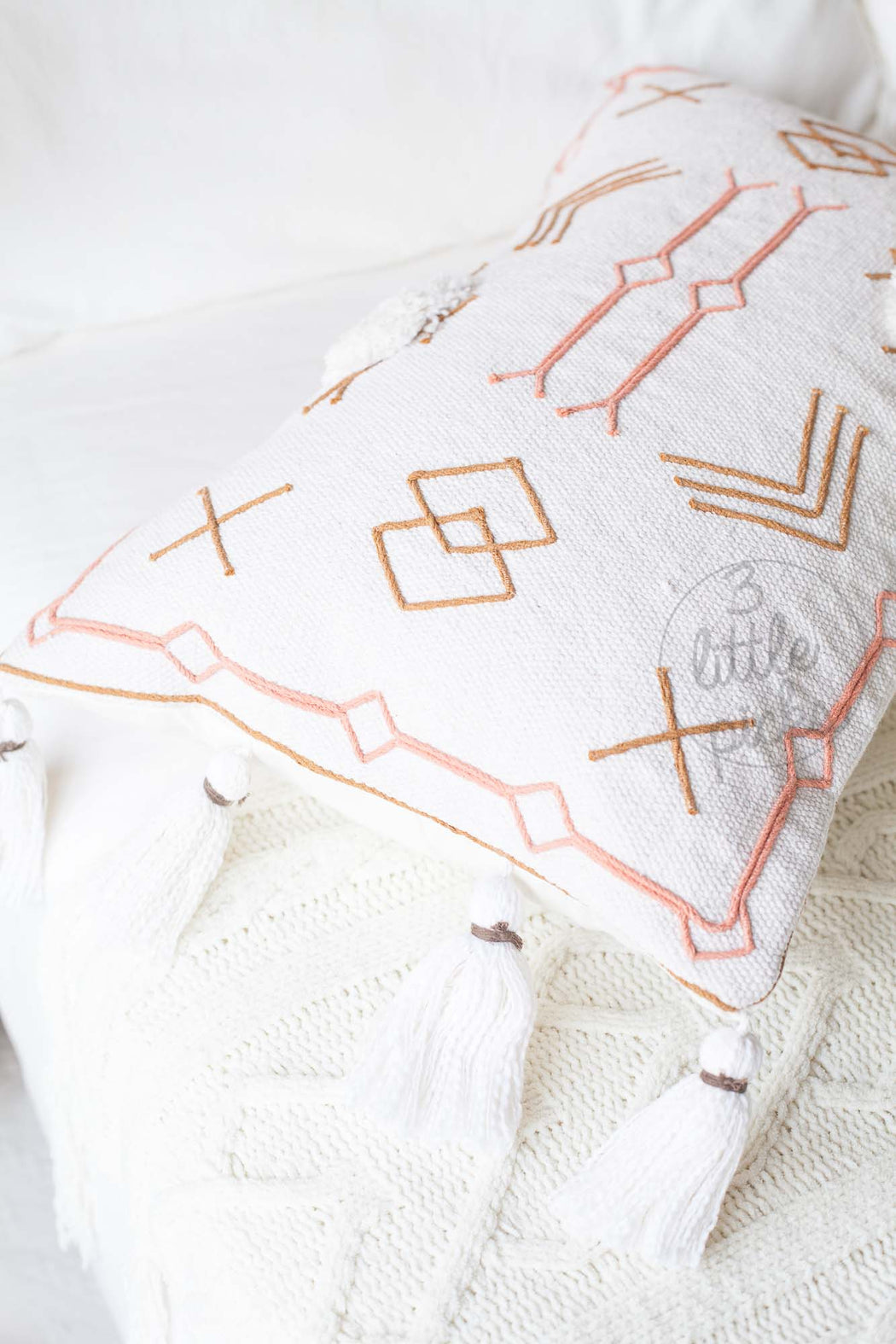 Moroccan Styled Embroidered Waist Cushion Natural