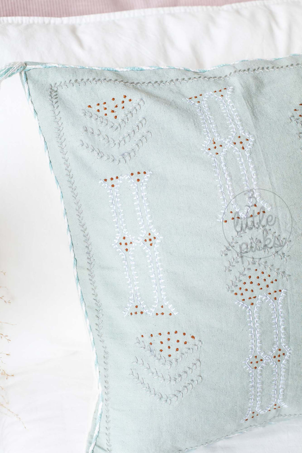 Moroccan Styled Embroidered Cushion Pale Blue