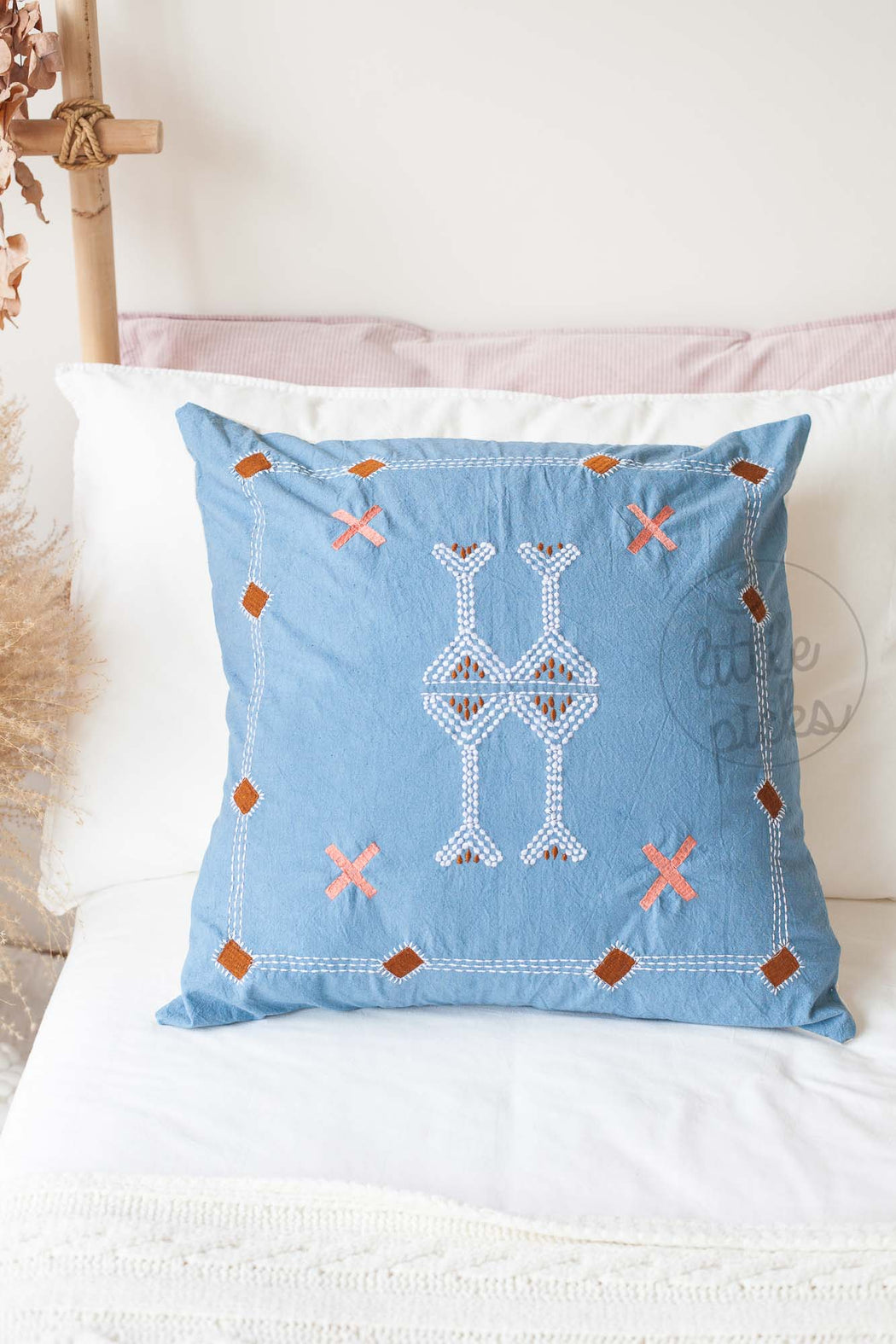 Moroccan Styled Embroidered Cushion Blue