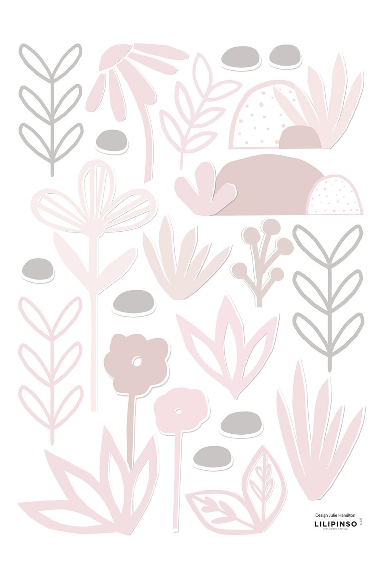 Pink Papercut Flowers and Leaves Vinyl Decal