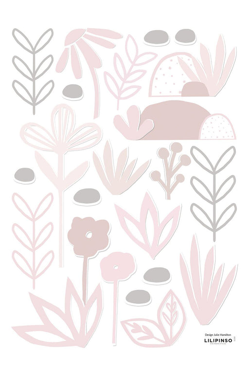 Pink Papercut Flowers and Leaves Vinyl Decal, Decor, Lilipinso - 3LittlePicks