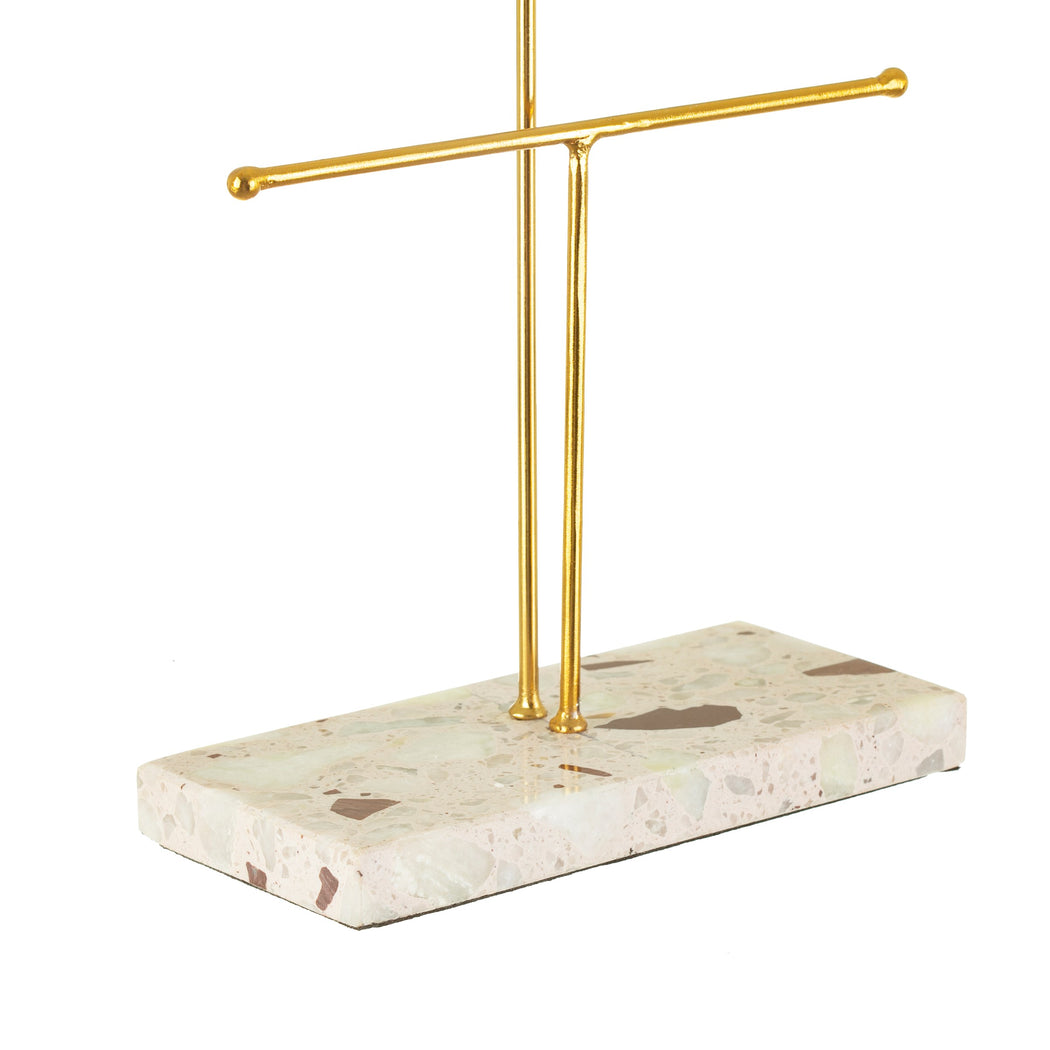 Double Terrazzo Gold Jewellery Stand, Decor, Sass & Belle - 3LittlePicks