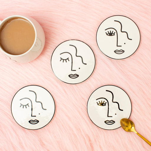 Abstract Face Coasters Set