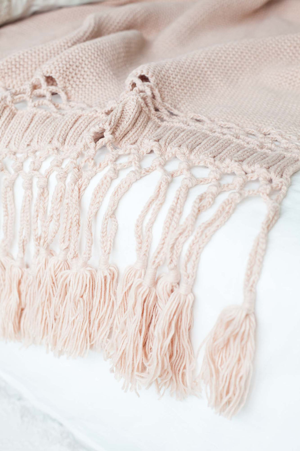COMING BACK: Nude Pink Tassel Knitted Throw, Textile, 3LittlePicks - 3LittlePicks