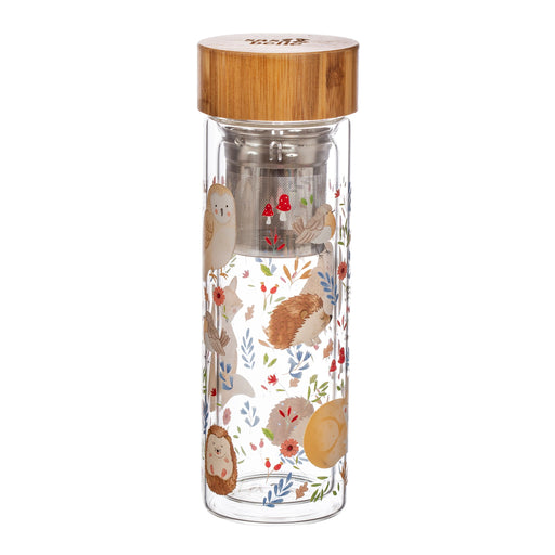 Forest Folk Glass Water Bottle