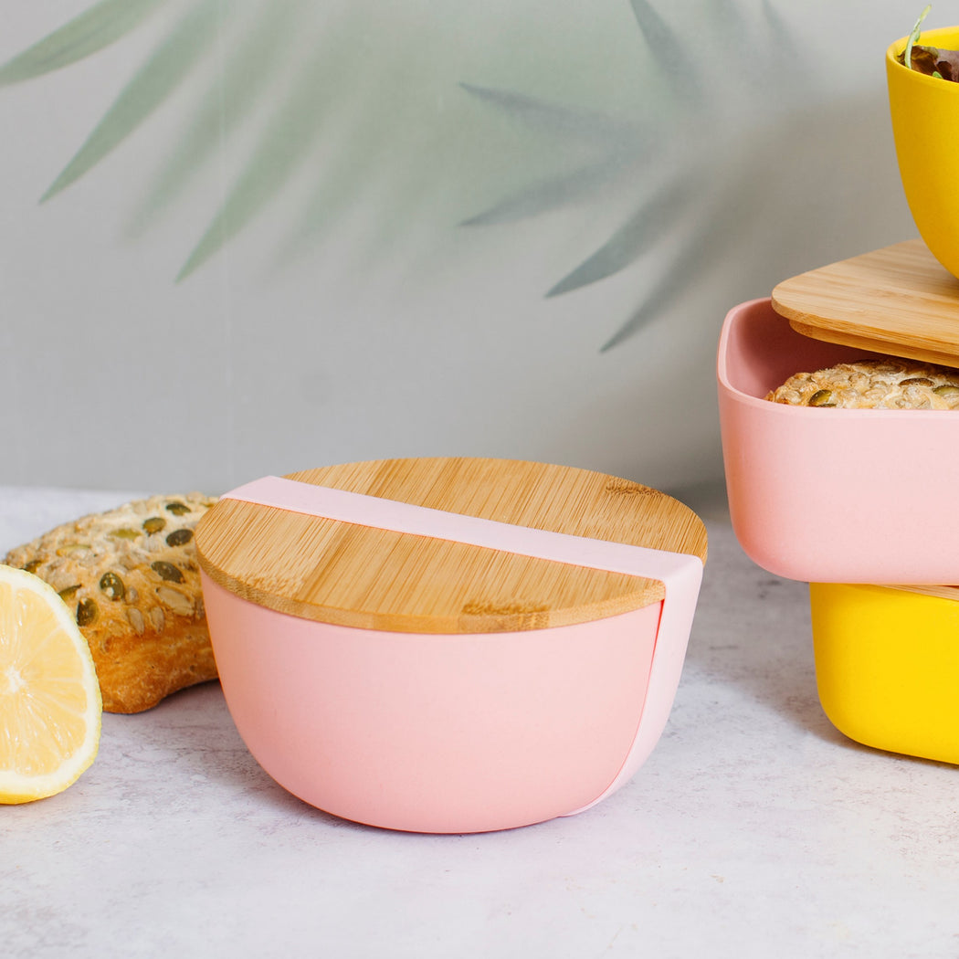 Pink Bamboo Bowl with Lid