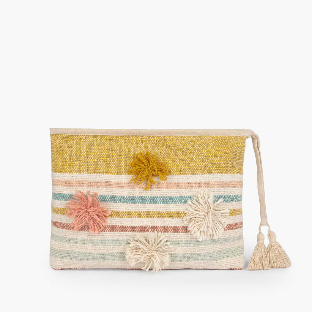 Poms and Stripes Clutch