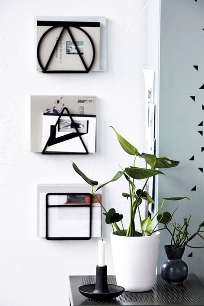 Black Geo Magazine Rack