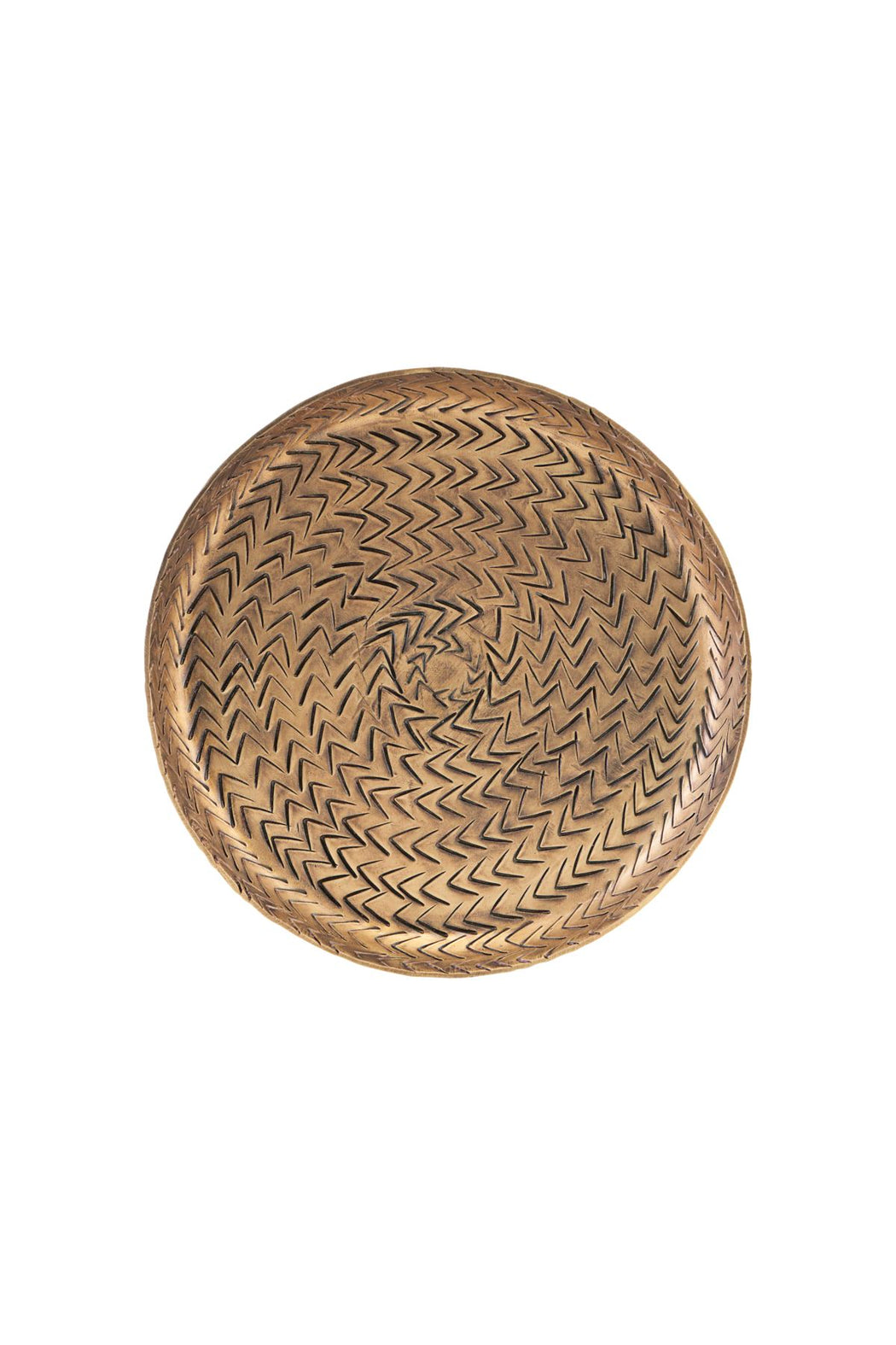 Rattan Effect Brass Finish Tray
