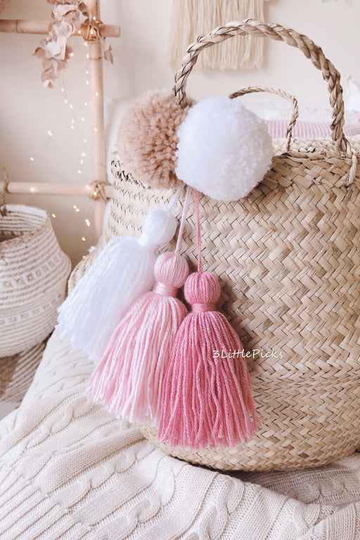 COMING BACK: Pink Pom and Tassel Seagrass Basket (NEW)