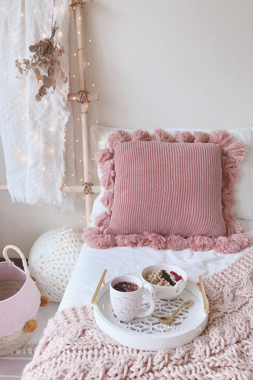 Dusty Pink Knitted Tassel Cushion, Cushion, 3littlepicks - 3LittlePicks