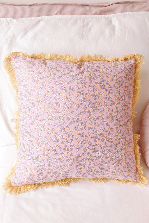Pink Small Flowers Cushion With Yellow Fringe