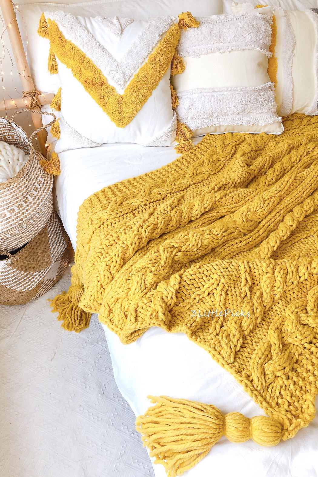 COMING BACK: Mustard Yellow Chunky Knitted Throw, Textile, 3LittlePicks - 3LittlePicks