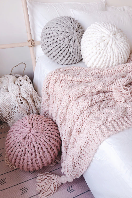 Chunky Knitted Puff Cushion, Cushion, 3littlepicks - 3LittlePicks