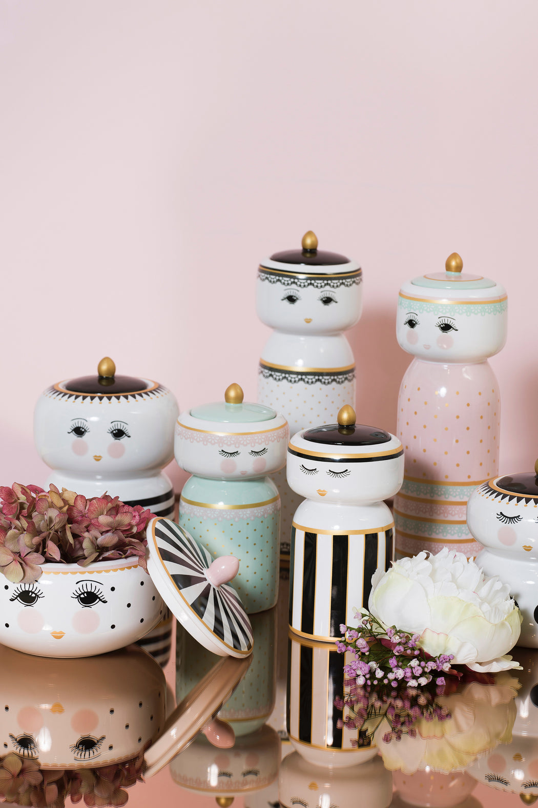 Pretty Eyes Dots and Stripes Decorative Jars