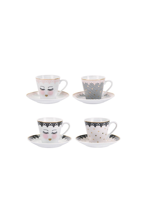Pretty Closed Eyes And Lace Espresso Sets
