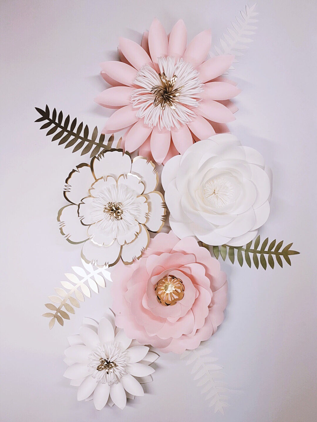 White Pink Gold Giant Paper Flowers