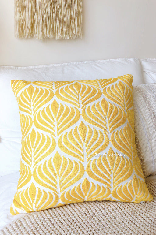 Embroidered Mustard Yellow Leaves Cushion, Cushion, 3littlepicks - 3LittlePicks