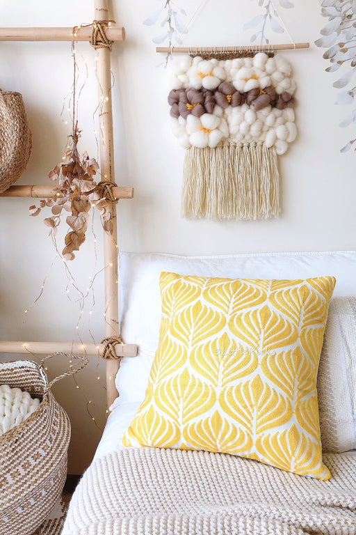 COMING BACK: Embroidered Mustard Yellow Leaves Cushion