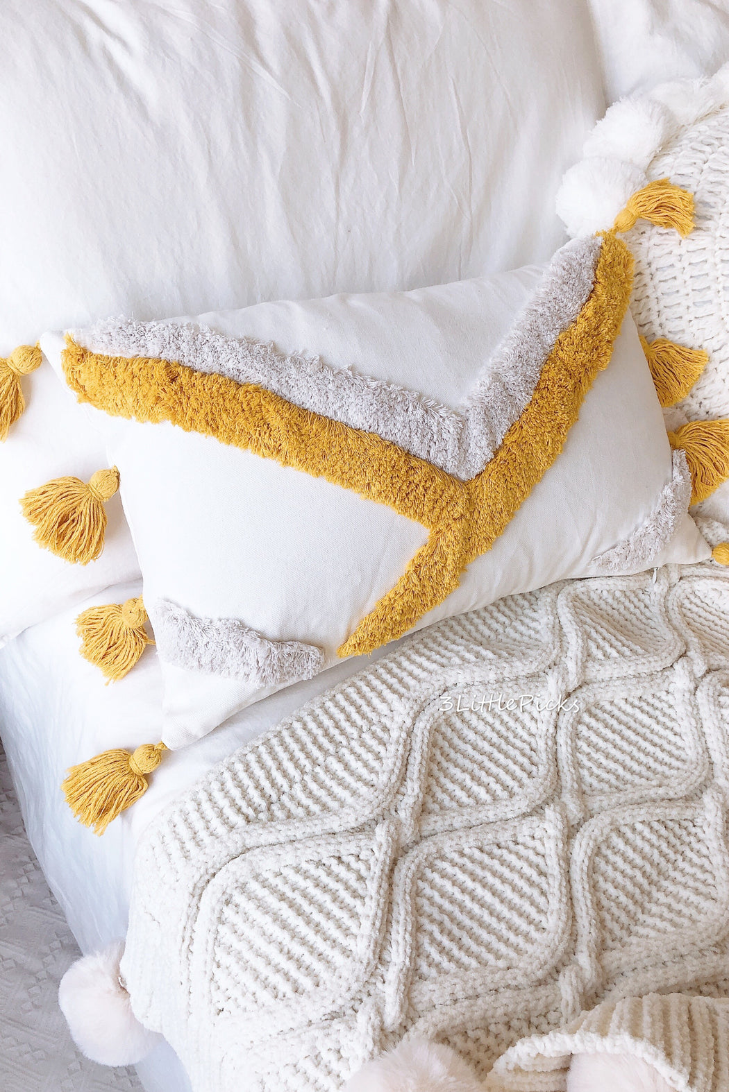 COMING BACK: Mustard Tassel and Shag Throw Cushions, Cushion, 3littlepicks - 3LittlePicks