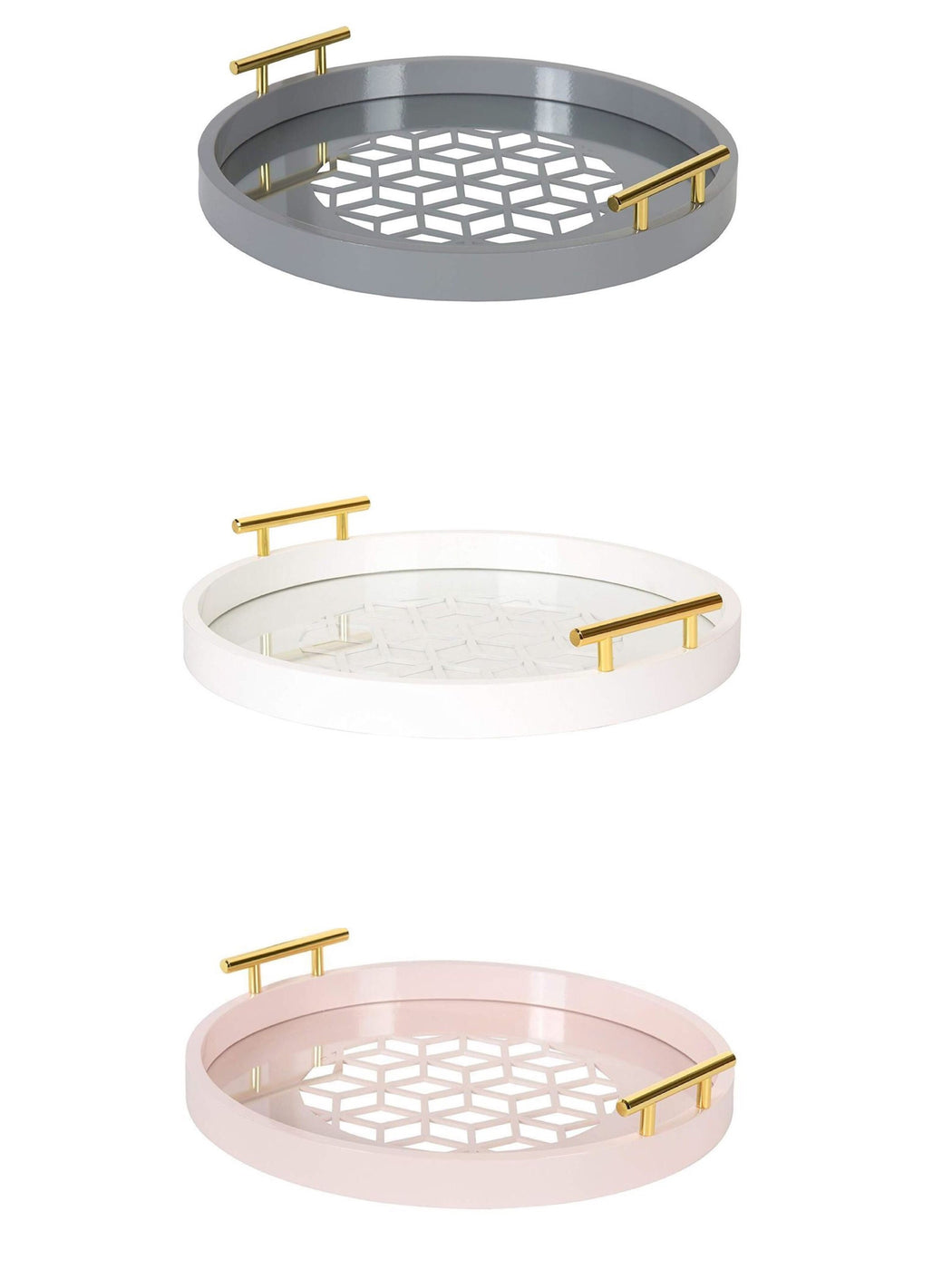Geometric Cut Round Tray