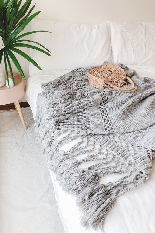 Grey Tassel Knitted Throw