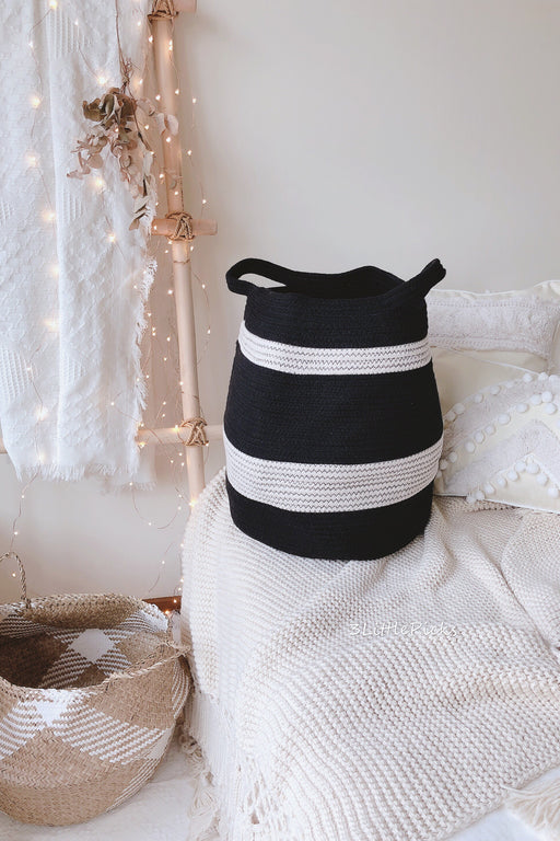 Black and White Striped Tummy Cotton Basket, Storage, 3littlepicks - 3LittlePicks