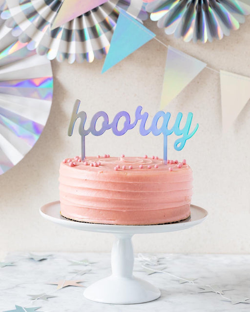 Holographic Hooray Cake Topper, Partyware, My Mind's Eye - 3LittlePicks