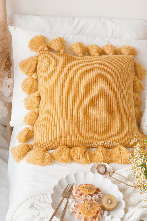 Mustard Yellow Knitted Tassel Cushion