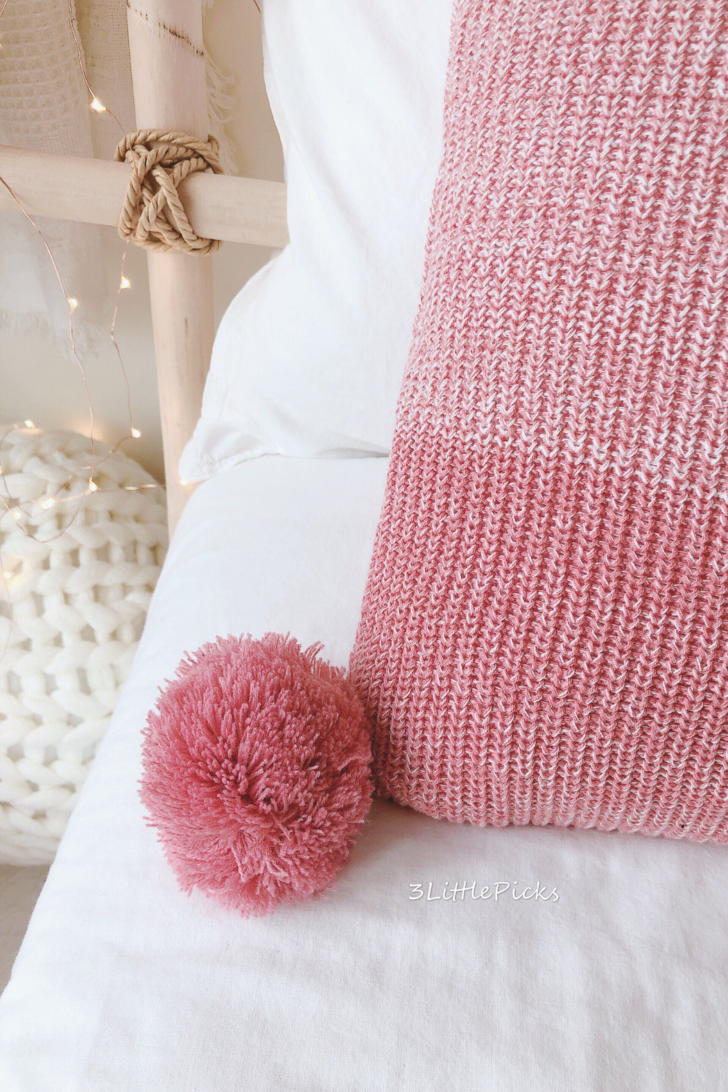 Shades Of Pink Knitted Pom Pom Cushion