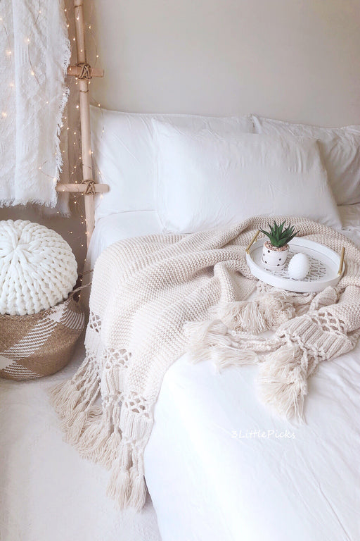 Cream Tassel Knitted Throw, Textile, 3LittlePicks - 3LittlePicks
