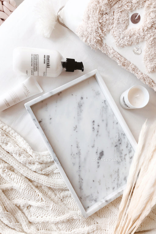 Starry White Marble Tray