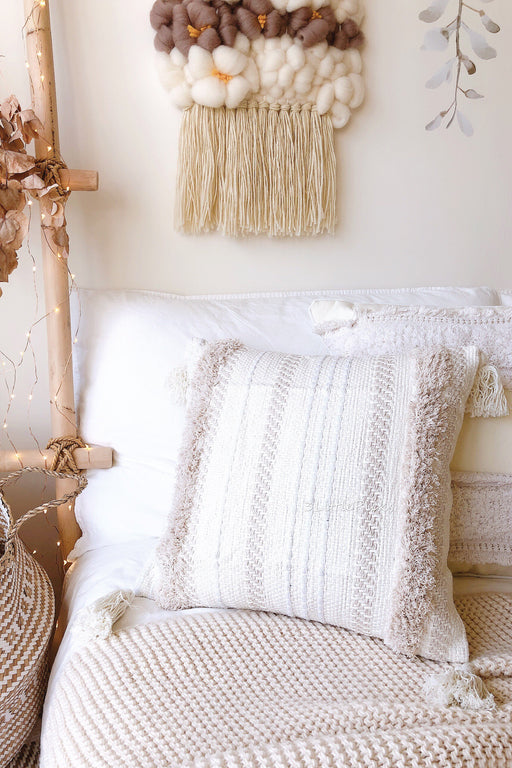 COMING BACK: Cream Tassel and Shag Cushion, Cushion, 3littlepicks - 3LittlePicks