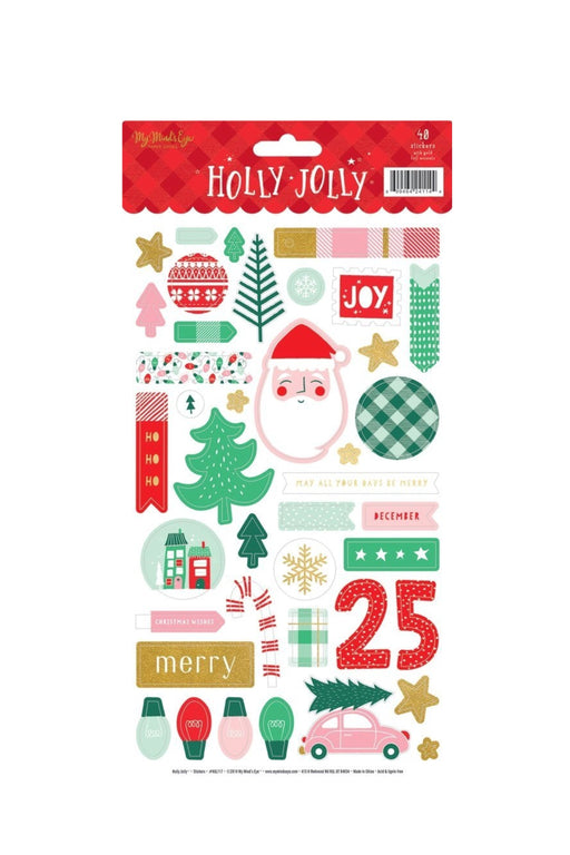 Holly Jolly Sticker Sheet, Stationary, My Mind's Eye - 3LittlePicks