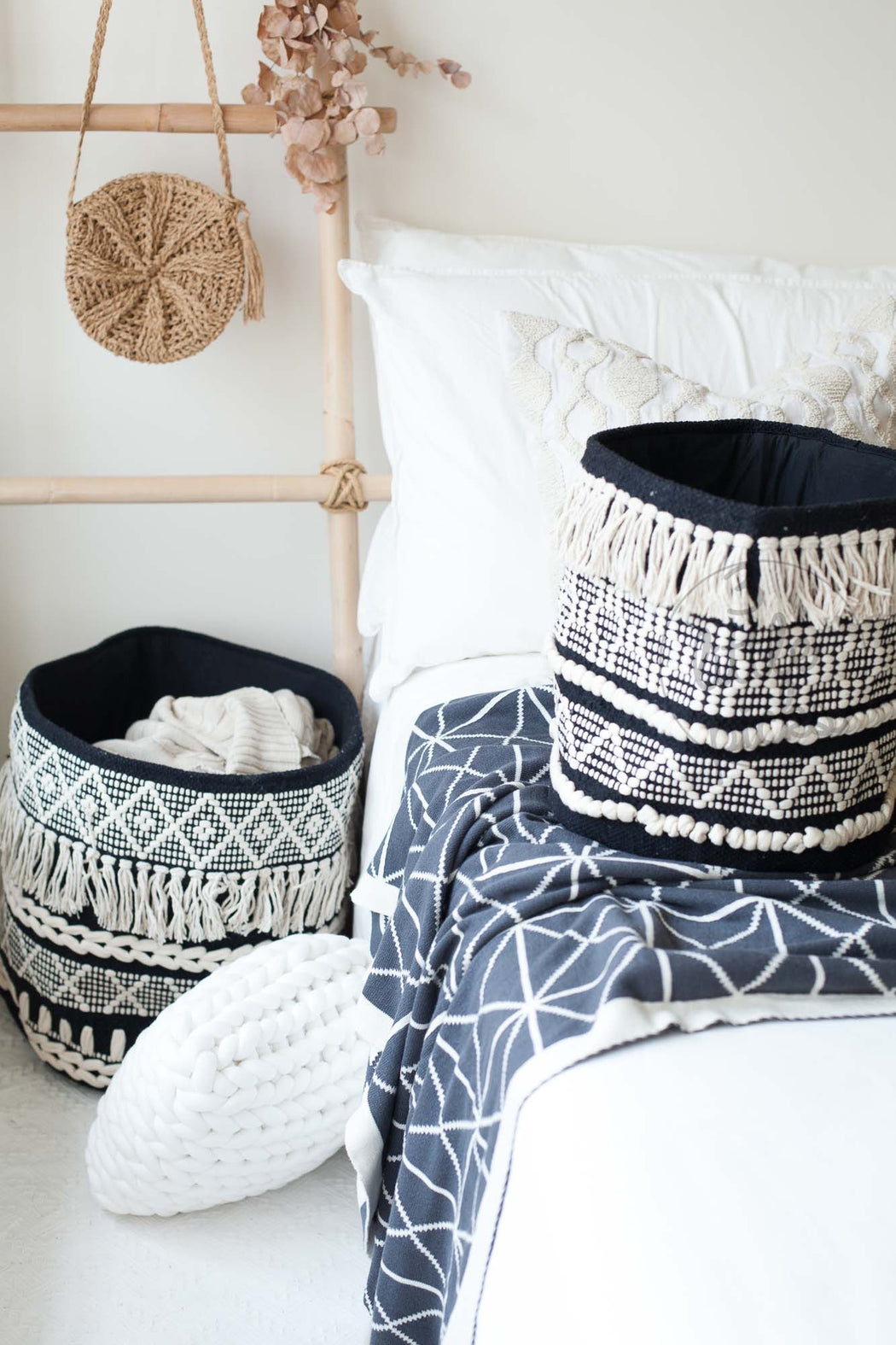 Boho Black And White Cotton Basket, Storage, Hübsch - 3LittlePicks
