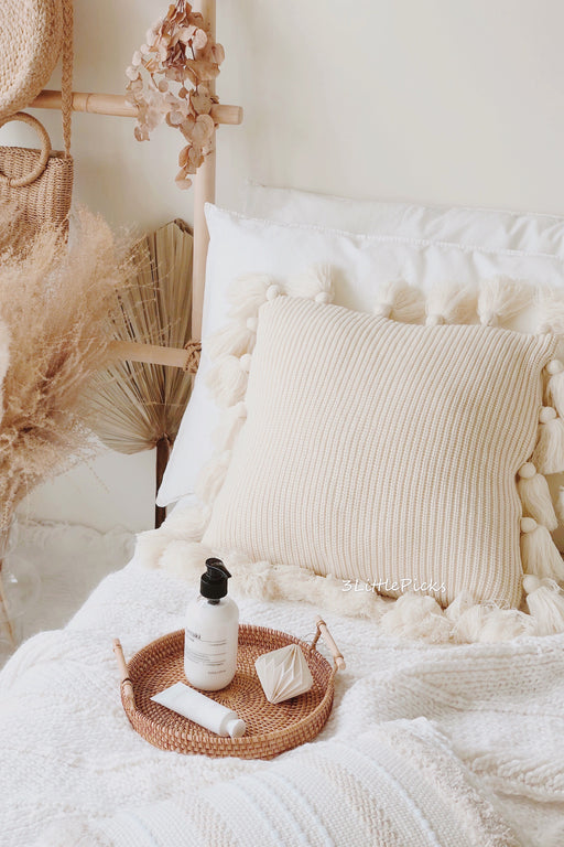 Cream Knitted Tassel Cushion
